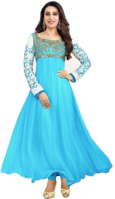 Radhe Fashion Georgette Embroidered Semi-stitched Salwar Suit Dupatta Material