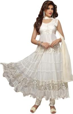 Shreet Fashion Net Self Design Semi-stitched Salwar Suit Dupatta Material