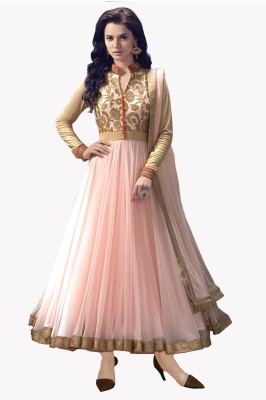 Aarsh Apparel Net, Georgette Embroidered Semi-stitched Salwar Suit Dupatta Material