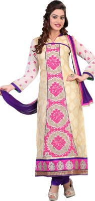 silvermoon Georgette Embroidered Semi-stitched Salwar Suit Dupatta Material