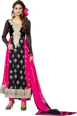 Justkartit Velvet Embroidered Semi-stitched Salwar Suit Dupatta Material