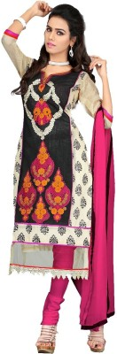 Fabcart Chanderi Embroidered Dress/Top Material