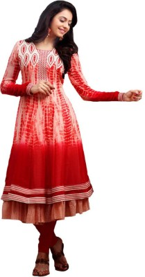 Vbuyz Georgette Embroidered Semi-stitched Salwar Suit Material