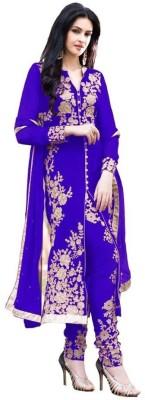 FabPandora Georgette Embroidered Semi-stitched Salwar Suit Dupatta Material