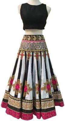 Colour Trendz Velvet, Net Embroidered Semi-stitched Lehenga Choli Material