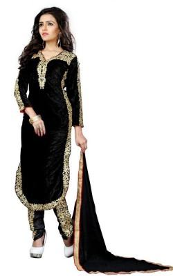 FASHIONUMA Velvet Embroidered Semi-stitched Salwar Suit Dupatta Material