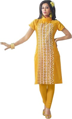 Nivetha textiles Chanderi, Cotton Embroidered Dress/Top Material