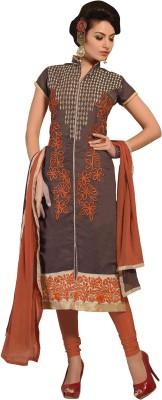 Manvaa Chanderi Printed Semi-stitched Salwar Suit Dupatta Material