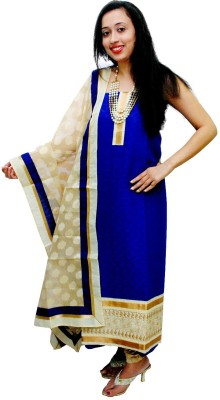 Ethnic Creations Cotton Self Design Salwar Suit Dupatta Material