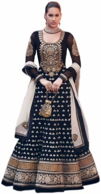 Fashion On Sky Georgette Printed Semi-stitched Salwar Suit Dupatta Material