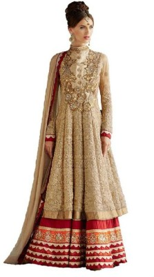 SFN Georgette Embroidered Semi-stitched Gown, Salwar and Dupatta Material