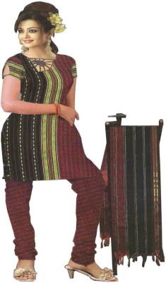 gp Cotton Polyester Blend Striped Salwar Suit Dupatta Material