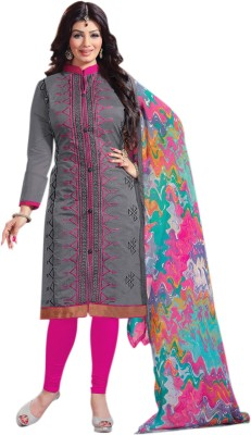 Thankar Cotton Embroidered Semi-stitched Salwar Suit Dupatta Material