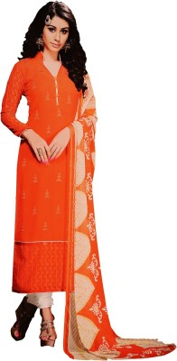 Freshboss Cotton Embroidered Semi-stitched Salwar Suit Dupatta Material
