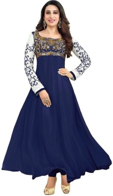 Shyam Creation9 Georgette Embroidered Semi-stitched Salwar Suit Material