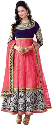 Shubh Creation Net Embroidered Semi-stitched Salwar Suit Dupatta Material