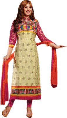 Wedding Villa Cotton Self Design Semi-stitched Salwar Suit Dupatta Material