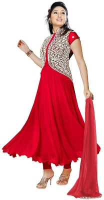 DilseShop Georgette Embroidered Semi-stitched Salwar Suit Dupatta Material