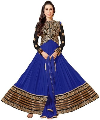 Clothcube Georgette, Net Embroidered Semi-stitched Salwar Suit Dupatta Material