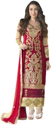 Surattrendx Georgette Embroidered Semi-stitched Salwar Suit Dupatta Material