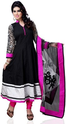 Nine Threads Cotton Self Design Semi-stitched Salwar Suit Dupatta Material