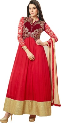 Fabfirki Fashion Hub Georgette, Net Embroidered Semi-stitched Salwar Suit Dupatta Material