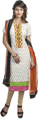 Priti & Sunny Cotton Embroidered Semi-stitched Salwar Suit Dupatta Material