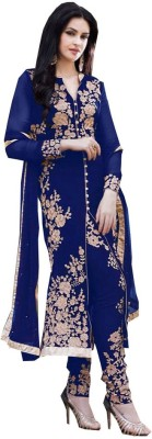 HSFS Georgette Embroidered Semi-stitched Salwar Suit Dupatta Material
