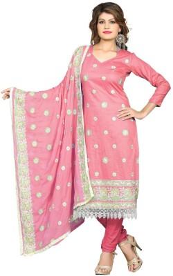 Sunrise International Cotton Silk Blend Embroidered Semi-stitched Salwar Suit Dupatta Material