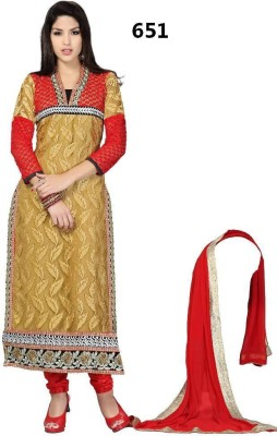 Pkfashion Georgette Embroidered Semi-stitched Salwar Suit Dupatta Material