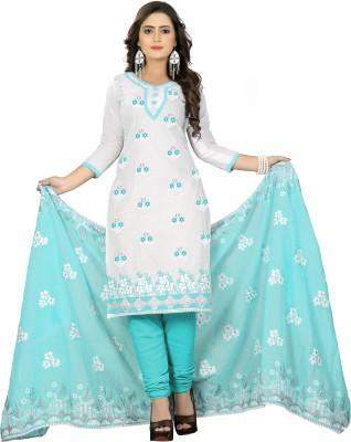 Fabviva Cotton Embroidered Salwar Suit Dupatta Material, Dress/Top Material