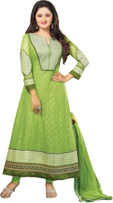 Style Mania Net Embroidered Semi-stitched Salwar Suit Dupatta Material
