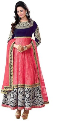Pratham Fashion World Georgette Embroidered Semi-stitched Salwar Suit Dupatta Material
