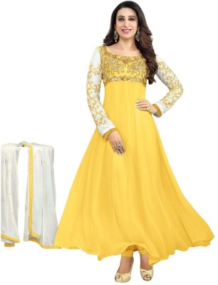 Dharm Fashion Georgette Embroidered Semi-stitched Salwar Suit Dupatta Material
