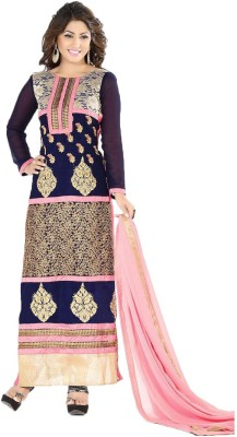 Sanchey Georgette Embroidered Semi-stitched Salwar Suit Dupatta Material