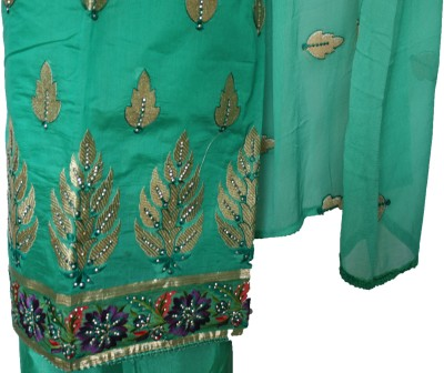 Vincy Chanderi, Cotton Linen Blend Embroidered Salwar Suit Dupatta Material, Lace, Salwar Suit Material