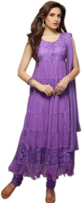 Fabkharidi Brasso, Net Self Design Semi-stitched Salwar Suit Dupatta Material