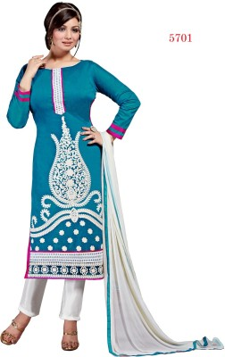 The Four Hundred Chanderi Embroidered Semi-stitched Salwar Suit Dupatta Material