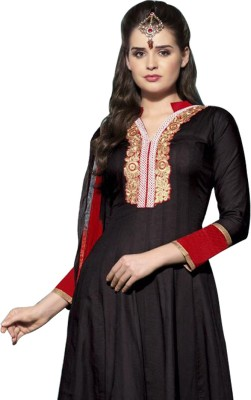 Gehna Cotton Embroidered Semi-stitched Salwar Suit Dupatta Material