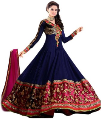 JK Fabrics Georgette Embroidered Semi-stitched Salwar Suit Dupatta Material