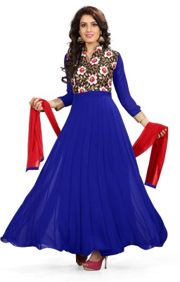 The Four Hundred Georgette Floral Print Semi-stitched Salwar Suit Dupatta Material