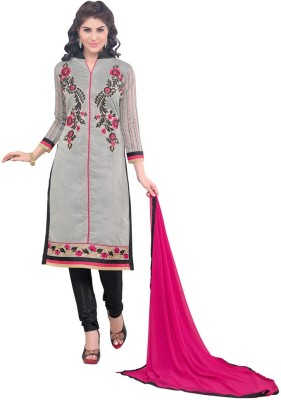 Inddus Chanderi Embroidered Semi-stitched Salwar Suit Dupatta Material