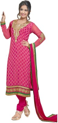 Navya Georgette, Jacquard Embroidered Semi-stitched Salwar Suit Dupatta Material