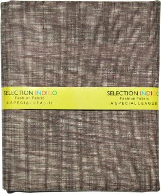 Selection Indigo Cotton Linen Blend Self Design Trouser Fabric(Un-stitched)
