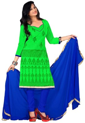 Style Mania Cotton Embroidered Semi-stitched Salwar Suit Dupatta Material