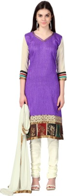Urjita Creations Cotton Polyester Blend Embroidered Semi-stitched Salwar Suit Dupatta Material