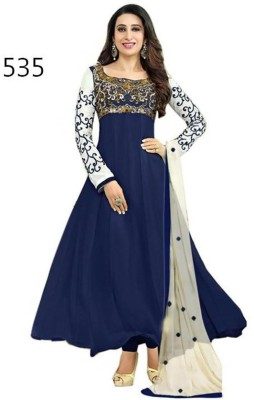 Khanak Fashion Georgette Self Design Semi-stitched Salwar Suit Dupatta Material