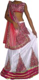 SF Net Embroidered Semi-stitched Lehenga...