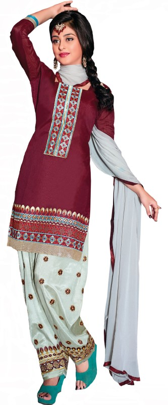 Vbuyz Jacquard Embroidered Semi-stitched Salwar Suit Dupatta Material