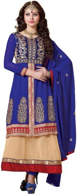 Ambaji Georgette Self Design Semi-stitched Salwar Suit Dupatta Material